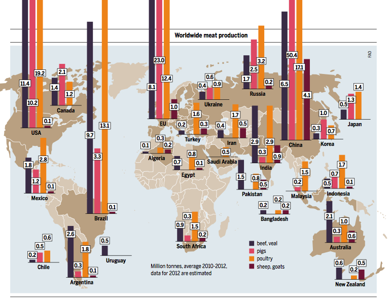 Worldwide meat production